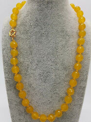 10mm Natural Faceted Yellow Jade Round Gemstone Beads Necklace 24'' Y22167