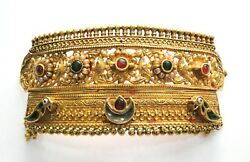 Vintage Antique Solid 20K Gold Jewelry Choker Necklace Pendant Rajasthan India