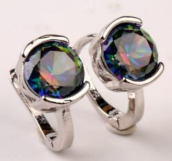 18K White Gold Filled - 8mm Round Mystic Topaz Women Luxe Hoop Earrings 11 Color
