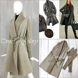RARE Loro Piana Women CASHMERE SHEARLING Sheepskin Long Cardigan Coat Size IT40