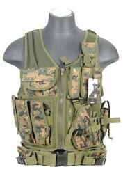 Lancer Tactical Adjustable Cross Draw Vest Digital Woodland Marpat Camo $54.95