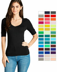 Women#x27;s Basic V Neck Elbow Sleeve T Shirt Short Sleeve Stretchy Top Reg amp; Plus $9.48