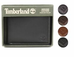 Timberland Men#x27;s Genuine Leather Passcase Credit Card Id Billfold Wallet $19.98