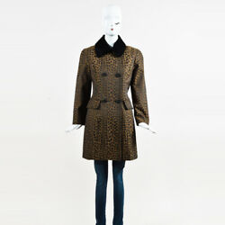 Fendi Brown Leopard Print Calf Hair Collared Double Breasted Coat