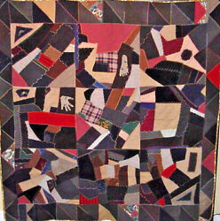 AMAZING CRAZY COUNTRY ANTIQUE CRAZY QUILT with HAND and FOOT APPLIQUES