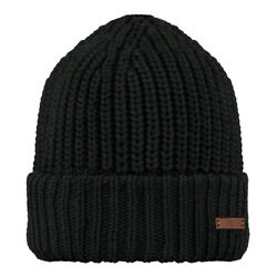 Barts Thick Unisex Hat with Rough Seal Mesh Beckett Beanie Black New
