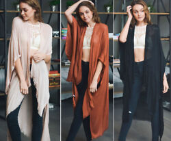 Women#x27;s Solid Long Kimono Duster Cardigan Fringe Open Front Wrap Boho Hippie OS $19.99