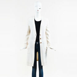 Chanel Fall 2007 White Cashmere Long Buttoned V Neck Cardigan SZ 40