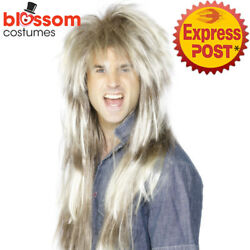 W517 Mens Rocker 80s Mega Mullet Costume Long Wig Blonde Brown 1980s Pat Sharpe