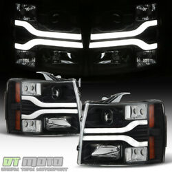 Black 2007-2013 Chevy Silverado 1500 LED DRL Tube Projector Headlights Headlamps $269.99
