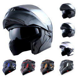 1Storm Motorcycle Full Face Helmet Modular Flip up Dual Shield Inner Sun Visor $64.95