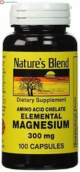 Nature#x27;s Blend Elemental Magnesium 300 mg Amino Acid Chelate 100 Ct $9.99