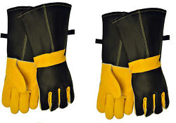 2 PAK Barbecue & Fireplace Premium Top Grain Leather Gloves 14.5