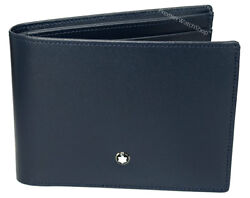 NEW Montblanc Meisterstuck Classic Blue Italian Leather Men's 6cc Wallet 114542