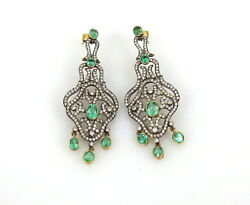 18KT. GOLD EMERALD DIAMOND EXTREMELY BEAUTIFUL CHANDELIER EARRINGS