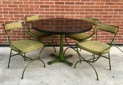 Atomic MCM dining round Pedestal table 4 chairs wrought iron WCI 1960s Mod PATIO
