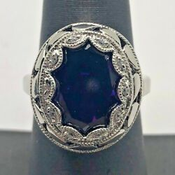 Sterling Silver 925 Caged Oval Purple Amethyst CZ Scalloped Halo Cocktail Ring 7