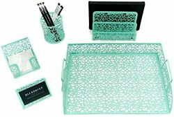 Blu Monaco 5 Piece Mint Green Desk Organizer Set $19.97