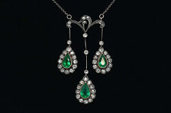Victorian Emerald Diamond Negligee Rare Silver Antique Trinity Pendant Necklace