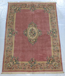 RRA 10x14 Japanese Aubusson Pink Rose Floral Rug 29718