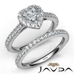 2.55ctw Halo French Pave Bridal Heart Diamond Engagement Ring GIA E-VS1 W Gold