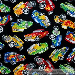 BonEful FABRIC FQ Cotton Quilt Black B&W Red Old VTG Classic Sport Car Paint New $13.50