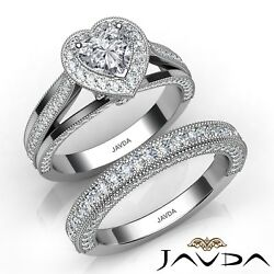 2.5ctw Halo Milgrain Edge Bridal Heart Diamond Engagement Ring GIA G-SI2 W Gold