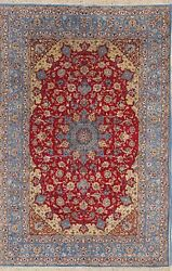 Vintage Wool & Silk 400 Knots Signed 7x10 Red Isfahan Persian Oriental Area Rug