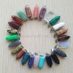 Fashion Assorted Natural Stone Pendulum Mixed Pillar Pendant 24pcslot Wholesale
