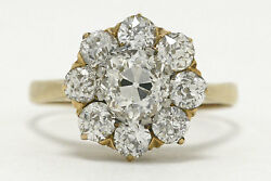 Antique 9 Diamond Cluster Engagement Ring 18K Yellow Gold Crown 1800s Victorian