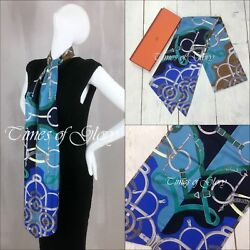 NEW Auth Hermes MAXI Twilly Blue Eperon d'Or Print Silk Head Neck Waist Scarf L