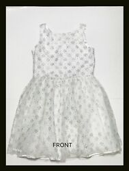Pre owned CRAZY 8 White Silver Party Dress Girl Size 12 $12.99