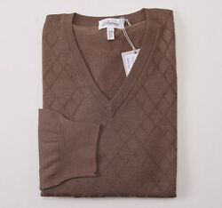 NWT $1295 BRIONI Cocoa Diamond Patterned Cashmere-Silk Sweater 56XL Modern-Fit