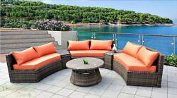 6 SEAT CURVED OUTDOOR PATIO FURNITURE SET 9 Ft PE Wicker Sunbrella Cushions New