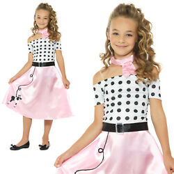 50s Poodle Girls Costume Rock n Roll Childrens Kids 1950s Fancy Dress Outfit $26.99