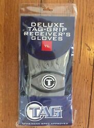 YL Youth Large Deluxe Tag Grip Receiver#x27;s Gloves Football Gray amp; Black New ➪ $19.95