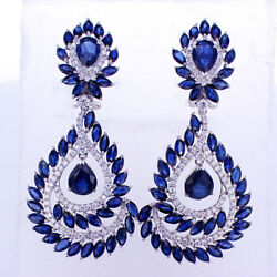 23.30CTW Sapphire and Diamond Earrings F-G SI 18K  White Gold