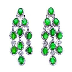 17.04CT Emerald and Diamond Chandelier Earrings F-G SI in 18K White Gold
