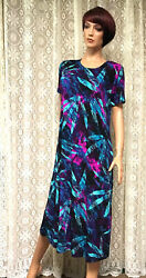 JOSTAR Slinky LONG DRESS Poly Spandex Knit TRAVEL Black Purple S M L XL 2X 3X $35.99
