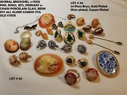 24 Vtg Cameo Jewelry Lot Brooch Ring Sets Clip On Earrings Resin Glass Porcelain