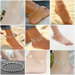 Womens Ankle Bracelet Silver Gold Plated Boho Anklet Foot Chain Beach Beads NEW