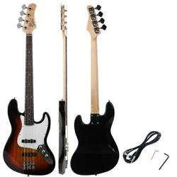 New Sunset Glarry Electric Jazz 4 Strings Bass Guitar + Cord + Wrench