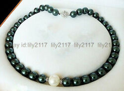 Genuine 8mm black & 10mm white round shell pearl necklace 18