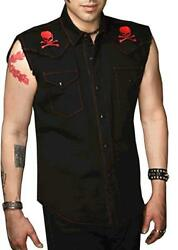SHRINE GOTHIC RED SKULL COWBOY WORKER MOTORCYCLE BIKER SLEEVELESS VEST SHIRT