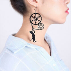 Funny Acrylic Punk Black Long Dangle Vintage Creative Steampunk Cat Earrings