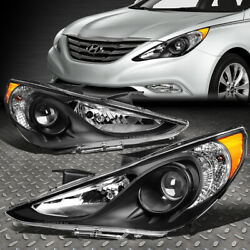 FOR 11 14 SONATA PAIR BLACK HOUSING AMBER CORNER PROJECTOR HEADLIGHT HEAD LAMPS $149.88