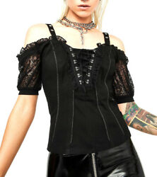 TRIPP GOTHIC PUNK GYPSY STEAMPUNK MEDIEVAL BLACK ROYAL MAIDEN CORSET TOP IO4569