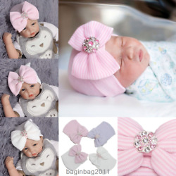 Baby Girls Infant Striped Soft Hat with Bow Cap Hospital Newborn Beanie Diamond