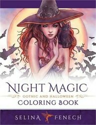 Night Magic Gothic and Halloween Coloring Book Paperback or Softback