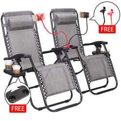 Zero Gravity Lounge Patio Chairs Case of 2 Cup Phone Holder Tray Foldable